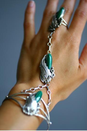 Vintage Artisan Sterling Silver Malachite Slave Bracelet
