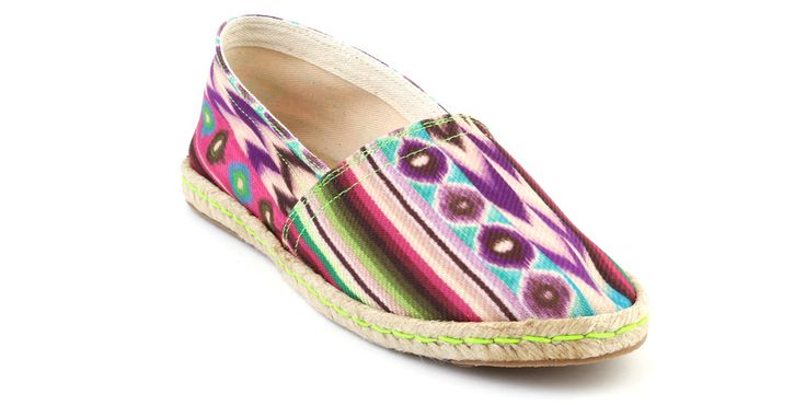 Mexican inspiration espadrilles with geometric pattern in purple, sky blue, fuchsia, dark green, bright green and White