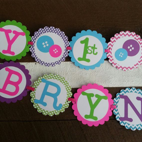 6ft Cute as a button custom Birthday Banner by Kirascollection, $24.99