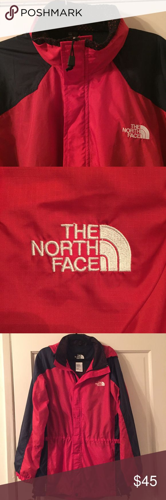 "MEN'S Northface jacket Men's ""Northface"" red & black jacket in great condition! It has black lining and a stow pocket inside and easy access hidden hood for rain. Excellent for that special man in your life. North Face Jackets & Coats Windbreakers"
