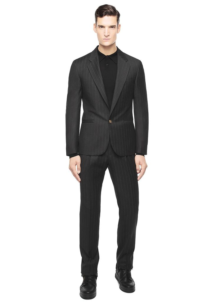 Introducing the #Versace Medusa Button Pinstripe Wool #Suit.  Two-piece single-breasted virgin #wool slim fit, notch lapel pinstripe versace #suit with #Medusa Head central button closure.