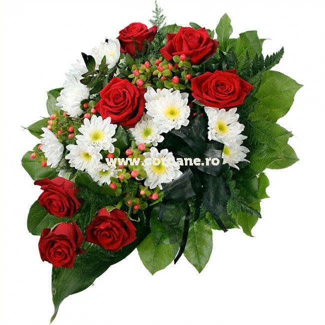 Jerba funerara mica, jerba crizanteme si trandafiri, iti recomanda pentru un ultim omagiu simplu si elegant. Jerba este realizata pe burete floral.
