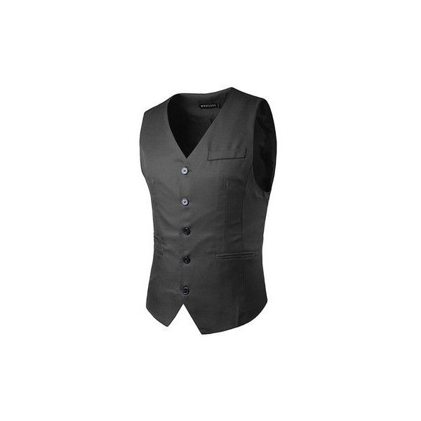 Casual formal business slim fit multi pockets fashion pure color suit ($23) ❤ liked on Polyvore featuring men's fashion, men's clothing, men's outerwear, men's vests, dark gray, men coats & jackets vests, mens multi pocket vest, mens formal vest, mens sleeveless vest and mens slim fit vest