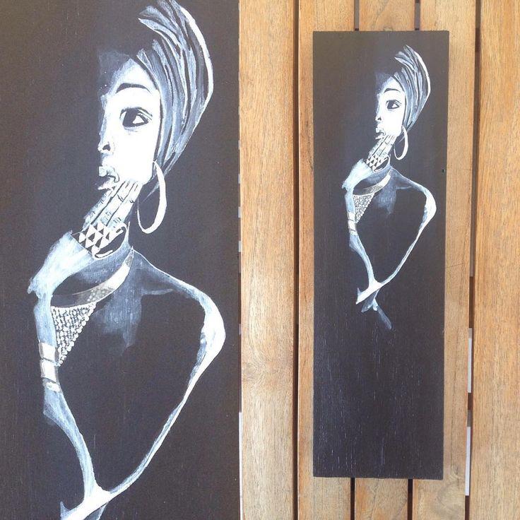 #black #white #woman #African #painting #art #acrylics #resim #woodart #woodpainting #siyah #Afrikalı #kadın #akrilik #sanat #dekor #dekoratif #dekorasyon #duvar #tablo #N4Joy