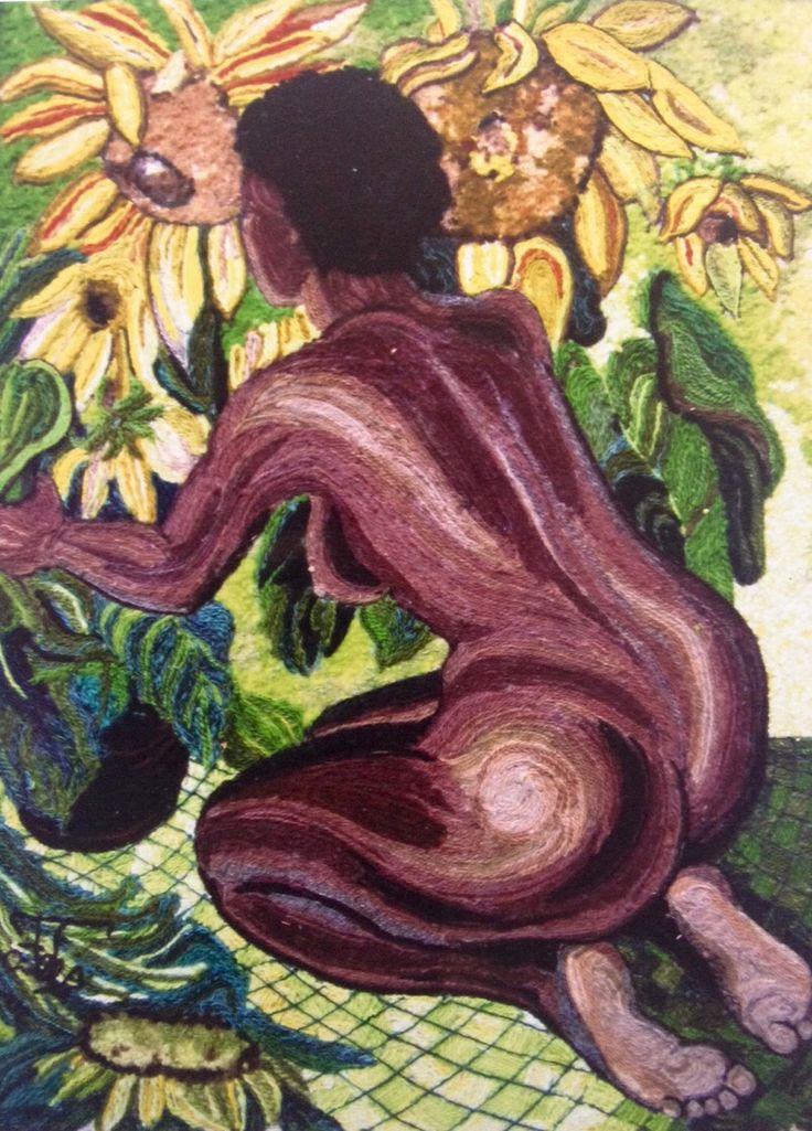 Homenaje a Diego Rivera, Mujer Arrodillada por Teresa de Mojica del Taller de collage en lana
