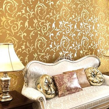 Luxury Modern golden pvc vinyl wallpaper roll for walls damask murals for TV background silver wallcoverings washable wallpaper(China (Mainland))