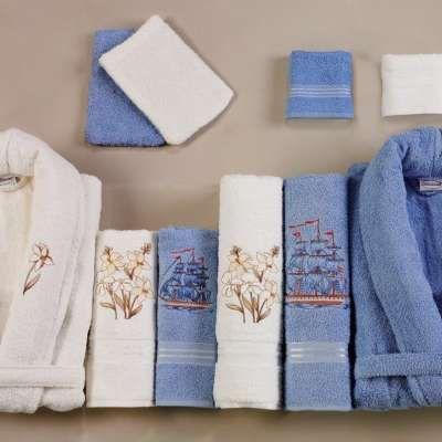 Belinda Aile Bornoz Seti Klasik Mavi - Beyaz 20