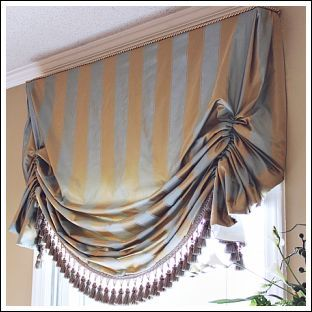 """Window Treatment Ideas   Can replace the gathering stitch with rings sewn on the back at 3"""" intervals.  To gather, thread a ribbon through the rings and tie together."""