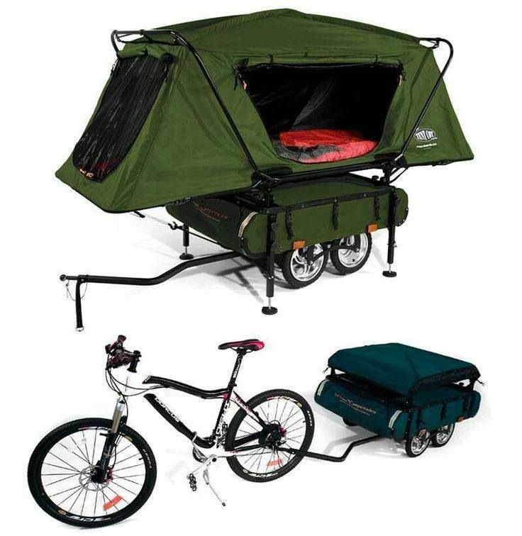 Unique pop up tent that pulls with bicycle