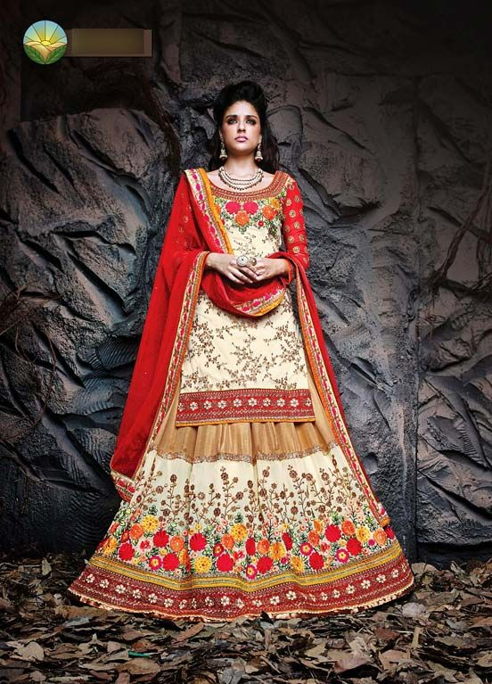 lehenga choli set: http://www.fabethnic.com/off-white-beige-and-red-wedding-lehenga-choli