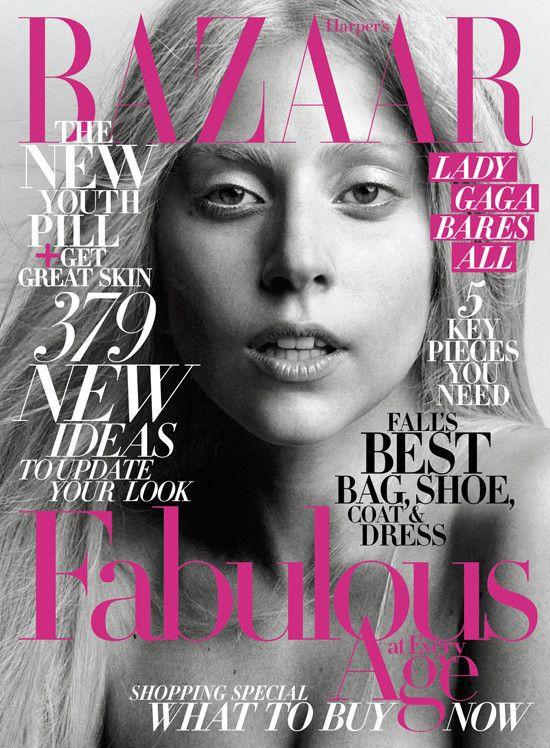 Lady Gaga scrubbed clean!: October 2011, Lady Gaga, Makeup, Harpers Bazaars, Looks Books, Bazaars Covers, Magazines Covers, Harpersbazaar