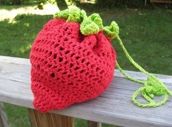 crochet strawberry handbag