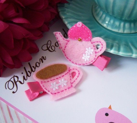 Pink Teapot and Tea Cups Hair Clips in Felt by ribboncandyhairbows, $5.95