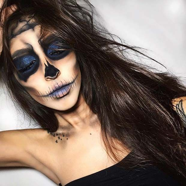 Dark Skeleton / Skull Halloween Makeup Idea for Women