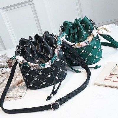 30feed6d44cc Green Studded Bucket Handbags Faux Leather Bag with Scarf