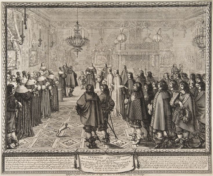 Ceremony passing the marriage contract of Ladislaus IV and Marie Louise Gonzaga at Fontainebleau by Abraham Bosse, 1645 (PD-art/old), Muzeum Narodowe w Poznaniu (MNP)