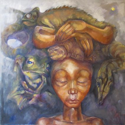 6. The New Maiden and the Burden Animals were once people and should therefor be respected. The Maiden lowers her eyes in respect and embraces watersnake, water tortoise and frog. The water creatures are both a blessing and a burden. Chameleon is ever vigilant and symbolic of transformation.