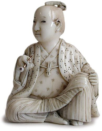 Kiseru for Sale | 19th Century Japanese Meiji Era Carved Narwhal Ivory Samurai Netsuke