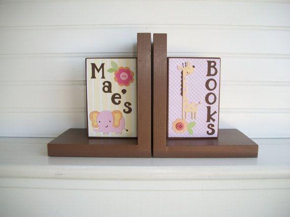 Bookends for Children.Nursery Room Decor . by RessieLillian.Etsy.com  Little Girls Jungle theme