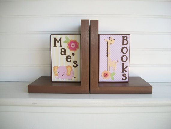 Bookends for Children.Nursery Room Decor . by RessieLillian.Etsy.com  Little Girls Jungle theme