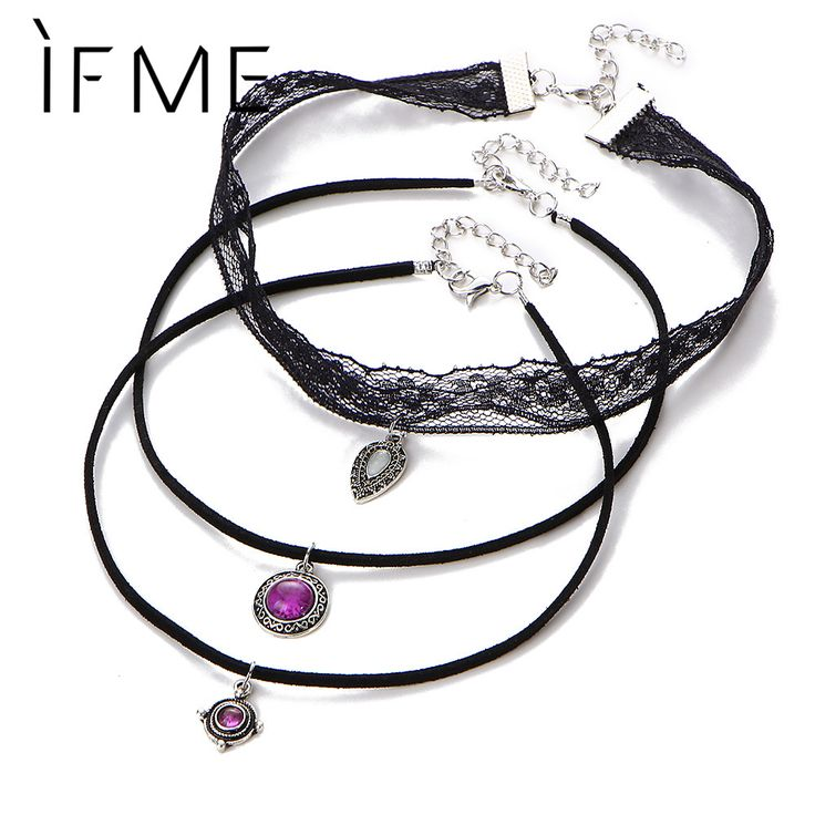 IF ME 3 Layer Steampunk Lace Choker Necklaces Sexy Pendent  Velvet Short Necklace Fashion Jewelry Women Girls Accessories Collar