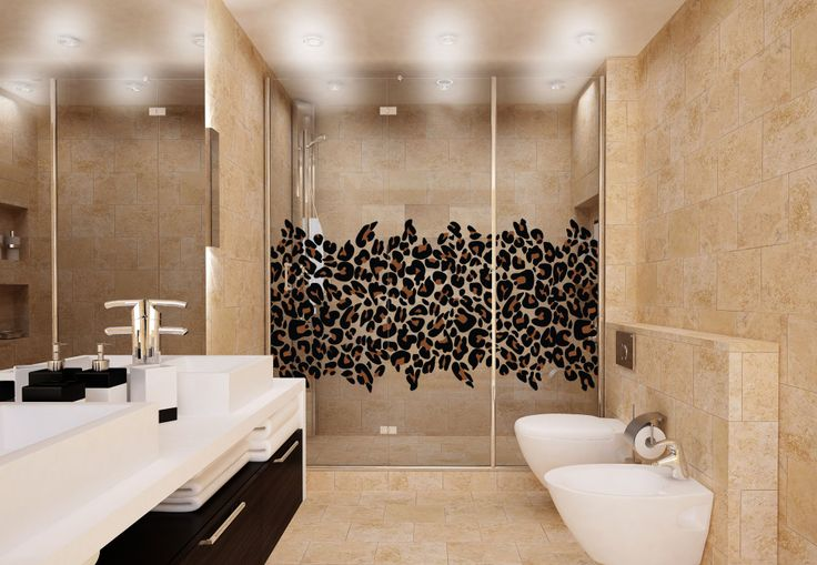 Exotic Leopard Print Cling - Fun leopard print decor for your bathroom. Easy to install privacy cling. by Shower Graphix -- leopard bathroom decor, leopard shower, animal print bathroom decor