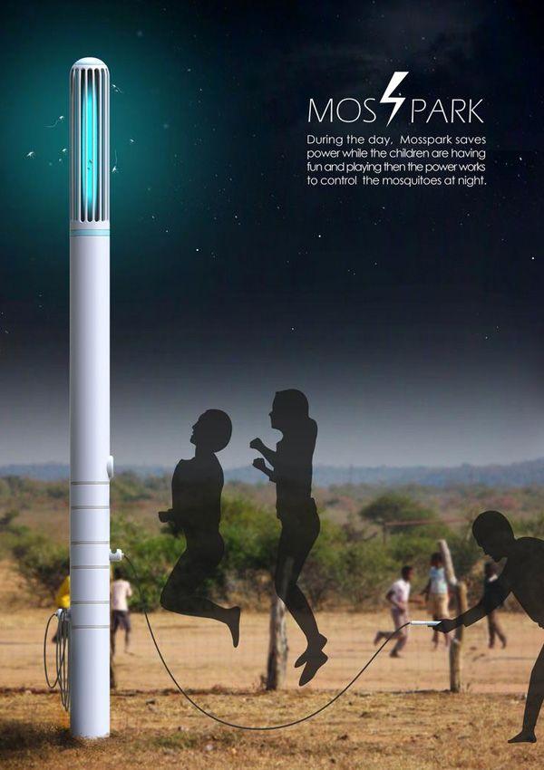 El Mosspark es un dispositivo inteligente que funciona como un harnesser de energía por el día y repelente de mosquitos por la noche. Mosspark – Kinetic Power Harvester and Mosquito Trap por Su Hyun Kim, Eui Hwan Choi, Ji Hyun Kim, Jin Hyun Yoon y Wun Am Yeo