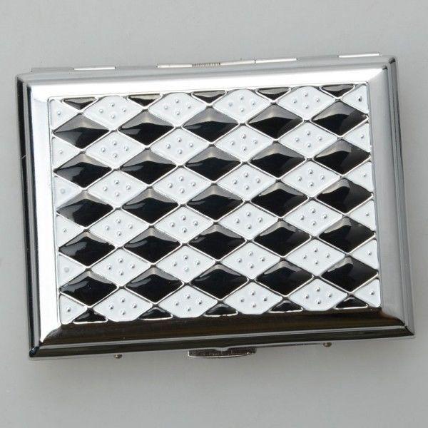 Black and White Checked Pattern Hold 16 Cigarettes Smoking Cigarette Case https://www.facebook.com/ZilCharmShop?ref=hl