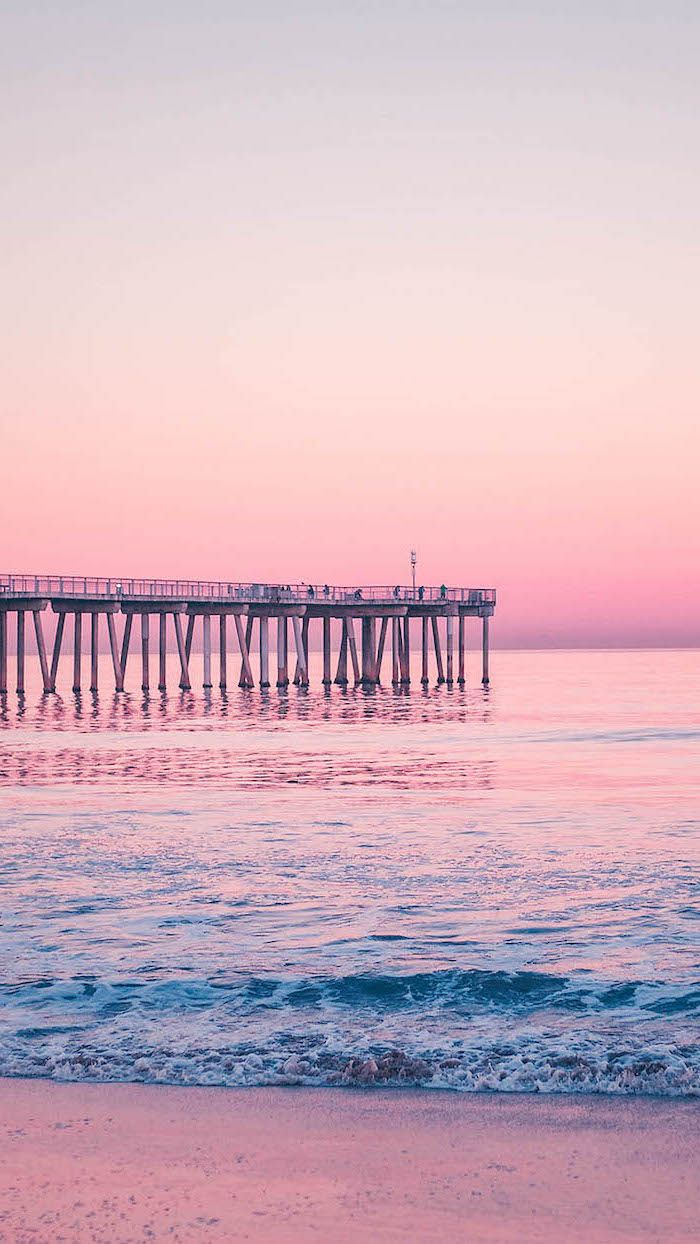 Sunset Over The Pier Ocean Waves Cute Quote Wallpapers Purple Pink Sky In 2020 Gold Wallpaper Iphone Cute Summer Wallpapers Wallpaper Iphone Summer