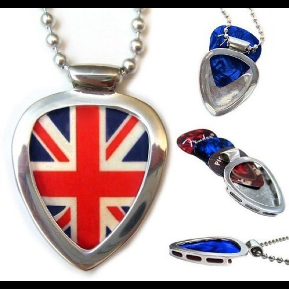 """Pickbay Guitar Pick Holder set + Union Jack pick Stainless Steel PICKBAY + Union Jack guitar pick, + 3 more gemstone color guitar picks. Change picks easily, 1000Necklaces in 1! Most perfectly designed pick holder necklace! Stainless steel is hypoallergenic. Includes:Pickbay pendant, Union Jack guitar pick polishing pouch and 24"""" stainless steel bigger 3.2"""" ball chain. Proudly display your concert picks or favorite picks everywhere you go. Shiny stainless steel Pickbay will never tarnish…"""