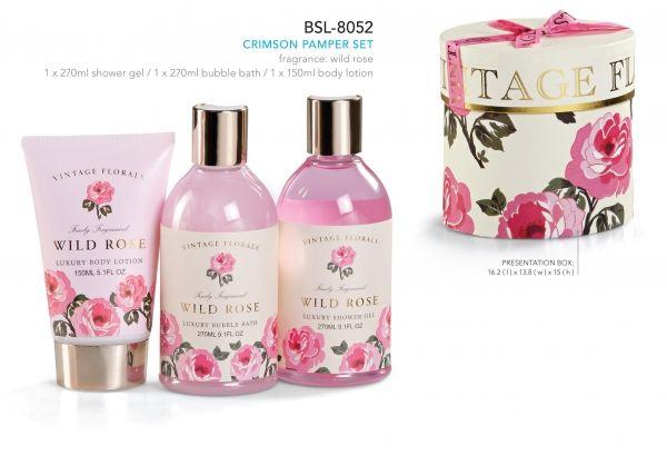 Crimson Pamper Set  fragrance: wild rose 1 x 270ml shower gel  1 x 270ml bubble bath  1 x 150ml body lotion   presentation box: 16.2 ( l ) x 13.8 ( w ) x 15 ( h )