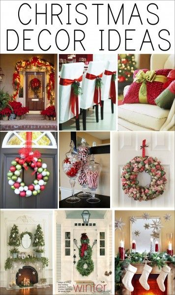 christmas decor ideas LL - Like the following ideas: Christmas ornament wreath, Candles on mantel, garland on stairs, and decorated pillow.