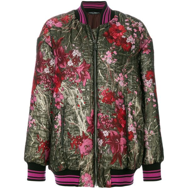 Dolce & Gabbana floral embroidered long-line bomber jacket ($2,395) ❤ liked on Polyvore featuring outerwear, jackets, multicolour, flower print bomber jacket, floral embroidered jacket, bomber style jacket, floral print bomber jacket and zip front bomber jacket