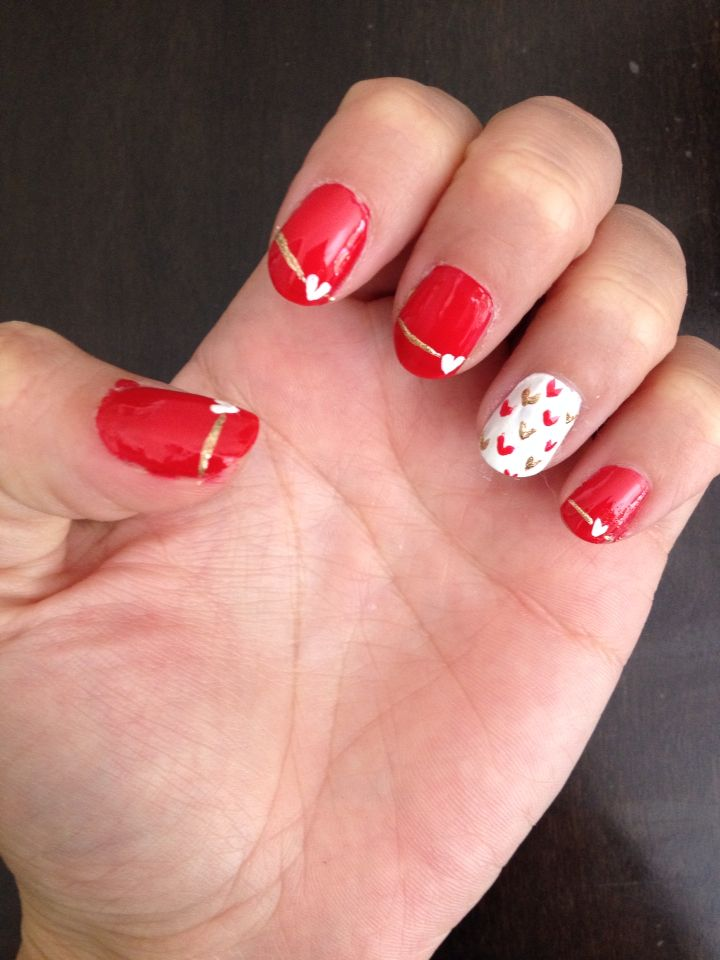 Valentine nails home made!