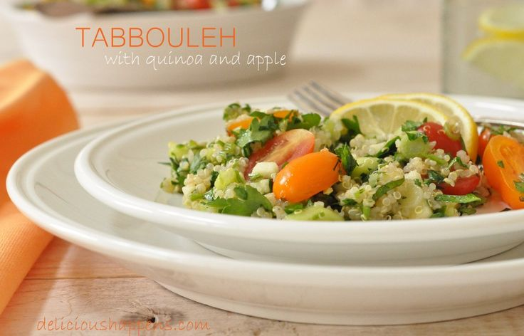 Quinoa Tabbouleh Salad (with apple) delicioushappens.com