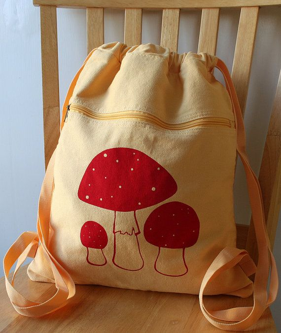 Mushroom Canvas Screen Printed Backpack by catbirdcreatures, $20.00