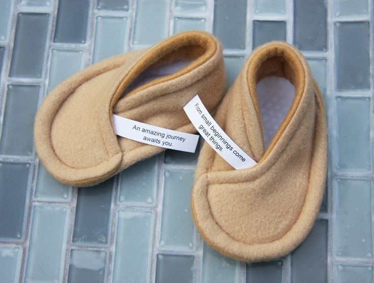 Fortune Cookie Baby Booties. We love fortune cookies and now we love them even more as baby booties - with personalised fortune from Etsy store owner SushiBooties.