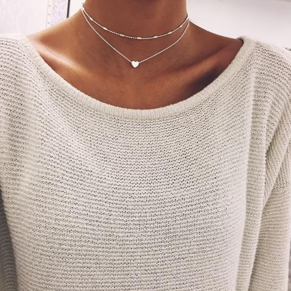 Silver Heart Chain Choker.. Want.