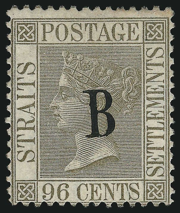 Malaya Straits Settlement Post in Bangkok, Scott 10, SG 11. BANGKOK, 1882, 96c Olive Gray. The British Post Office in Bangkok came about in May 1882 due to the level of demand, mainly from merchants, and was stationed within their consulate. Prior to this, mail was sent via diplomatic pouches to Singapore (Straits Settlements) where the letters were placed in the mail. This continued until 1885 when Siam joined the U.P.U. and assumed mail functions.