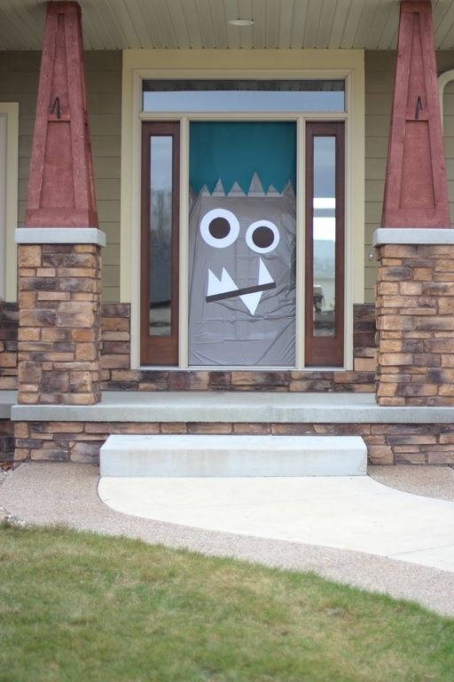 Monster birthday party ideas - Make the front door into a monster!