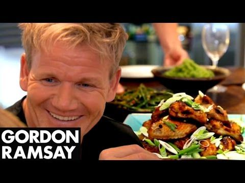 Spicy Chicken Wings, Thai Green Curry Rice & Green Beans with Chilli Peanut Dressing   Gordon Ramsay - YouTube