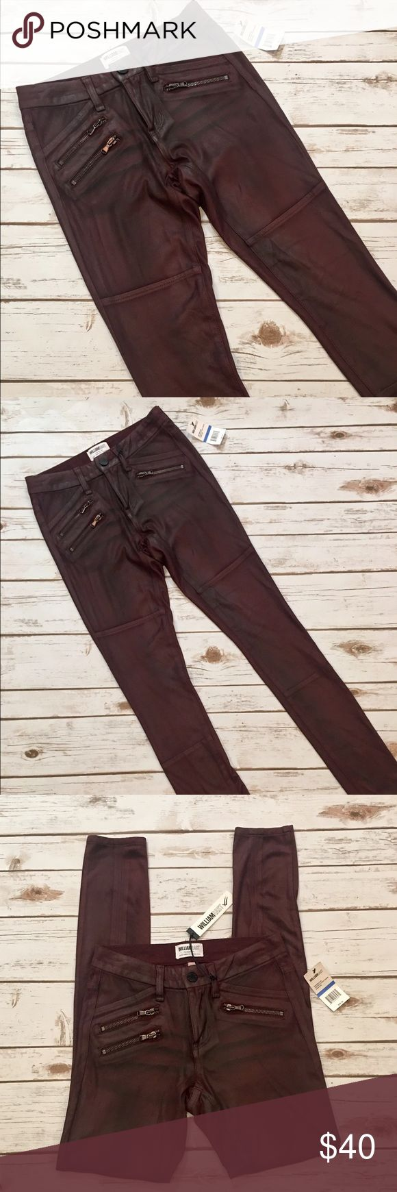 """👄William Rast Suede Moto Pant in Oxblood👄 SERIOUSLY AMAZIMG❣️❣️❣️William Rast is a brand founded by Justin Timberlake & Trace Ayala. These are silky soft, melt in your hands 88% polyester 12% elastane. Size 25. Waist measures 13"""" laying flat across. Inseam 31"""". Easy stretch, Three kick a$$ front zipper pockets of which one is functional. Two back pockets for your matching lipstick 💄 Moto style seams. Brand new with tags. Retail price $100.00. Grab them here for less🤑 Straight rockstar…"""