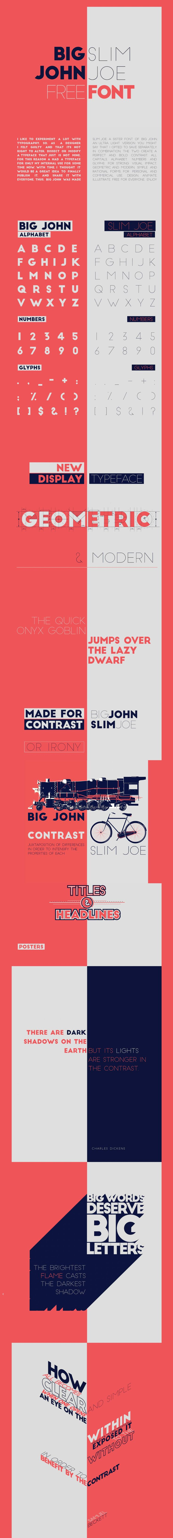 Big John & Slim Joe Free Typeface - Free Fonts  Big John Slim Joe free sans serif typeface with a useful usually needed contrast between thick john and slime joe specially in headings & poster designs.