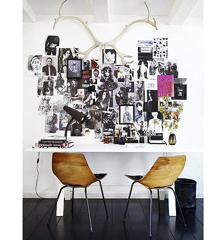 Contrasts: wall filled with photographs