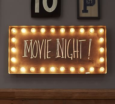 """Lit Wall Sign #potterybarn. 33.25"""" x 16.25"""".  I want to make my own with a window frame, lights and chalkboard paint!!!!!"""