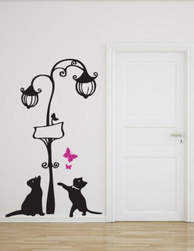 wall sticker stickers Adesivo muro murale vetrinistica decoge  lampione e gatti