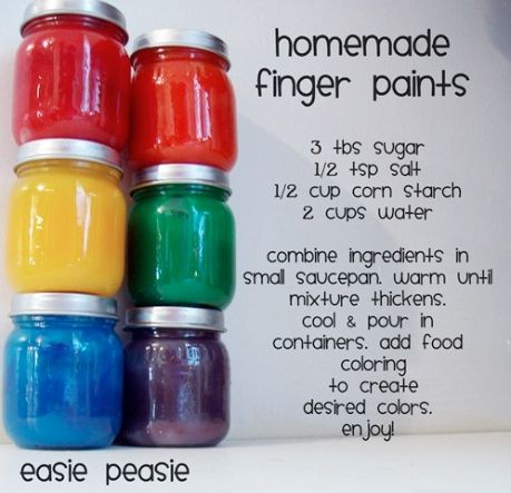 DIY Finger Paints - the paint is kind of gloopy, but is a lot like the store-bought finger paints. DO NOT store it, though, as it goes rancid. Eww. -Kryste