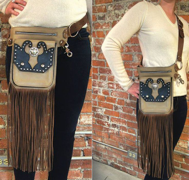 Fringe Festival Bag  Revivall Clothing's convertible leather Hip Bag can be worn two ways- as a belt or as a cross body bag. They are perfect for traveling, festivals, a night out dancing, or just casually around town. The minimal colors and classy aesthetic make them easy to wear every day, not just around the festival circuit.  There are 3 large pockets- an outer patch pocket with snap closure, a larger zipper pocket behind it, and a slip pocket in the very back. The zipper pocket will…