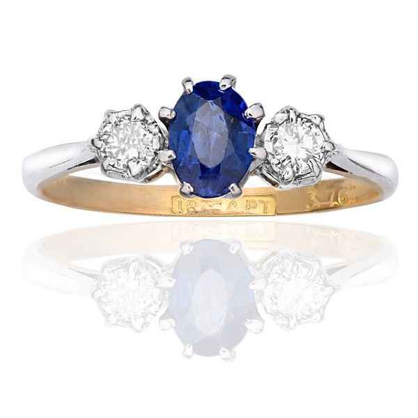 Sapphire & Diamond Platinum & 18 Carat Yellow Gold...A Trilogy Triumph of Blue & White...Pretty and Perfect!
