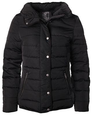 Geisha GT5459 Padded jacket black Winterjas met hoge kraag, twee steekzakken en metaalkleurige ritssluiting en drukknopen.